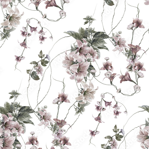 Watercolor painting of leaf and flowers, seamless pattern on white background - 172061861