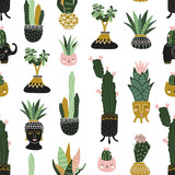 Hand drawn tropical house plants. Scandinavian style illustration, seamless pattern for fabric, wallpaper or wrap paper. Vector design. - 172065465