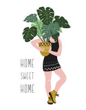 Poster with young woman cultivating home tropical plants and text - 'Home sweet home'. Hand drawn illustration in scandinavian style. Vector design. - 172066442