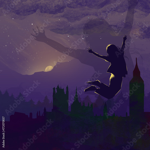Poster Aubergine Happy Jump at Dawn of City, an Excited New Day Started! Video Game's Digital CG Artwork, Colorful Concept Illustration, Realistic Cartoon Style Background