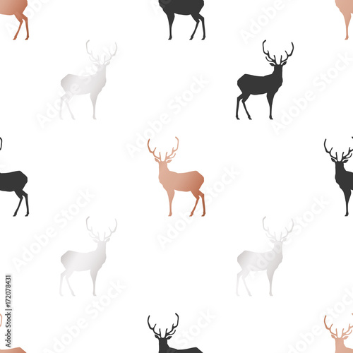 White Christmas and New Year's wrapping paper with deers of gold and bronze foil. Seamless vector pattern. - 172078431