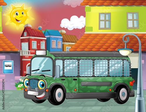 happy and funny cartoon military bus looking and smiling driving through the city or standing near garage - illustration for children - 172080474