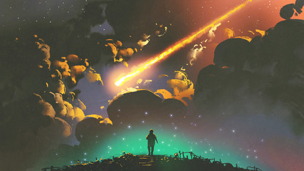 night scenery of a boy looking the meteor in the colorful sky, digital art style, illustration painting © grandfailure