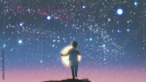 the boy holding glowing moon standing against hanging stars in the beautiful sky, digital art style, illustration painting © grandfailure