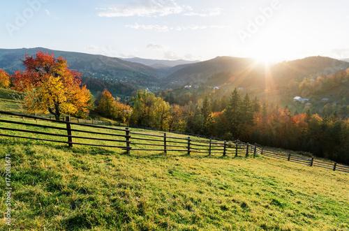 Fotobehang Herfst Autumn landscape in a mountain village
