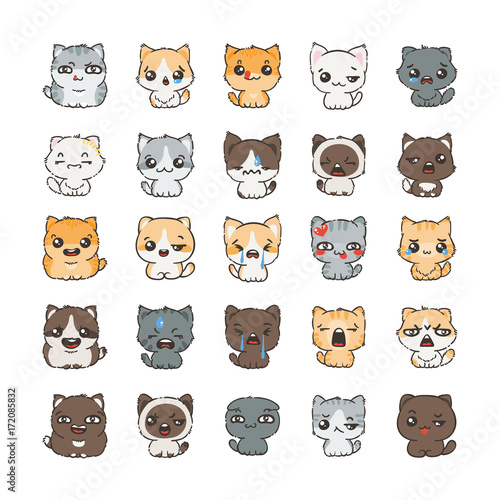 Cute cartoon cats and dogs with different emotions. Sticker collection. - 172085832