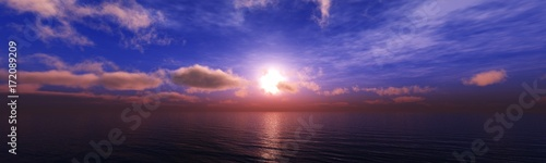 Foto op Aluminium Donkerblauw beautiful sea sunset, ocean panorama
