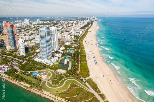 Zdjęcie XXL South Beach Miami Skyline Aerial View, Floryda
