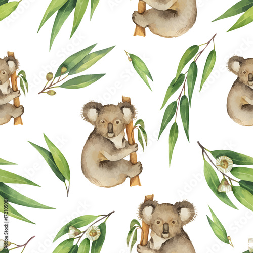 Watercolor vector seamless pattern with eucalyptus leaves and Koala isolated on white background. - 172105081
