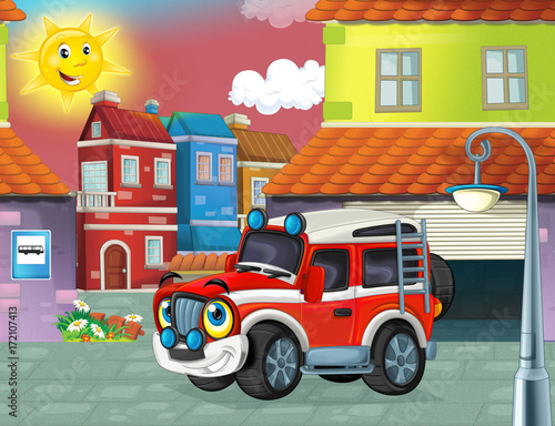 happy and funny cartoon fireman truck smiling and driving through the city or standing near the garage- illustration for children - 172107413