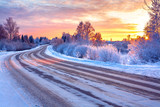 wintry snowy road in ice