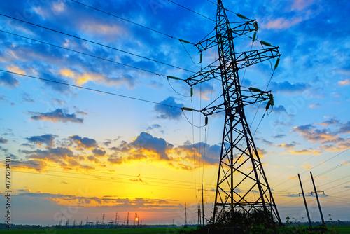 Power lines landscape Poster