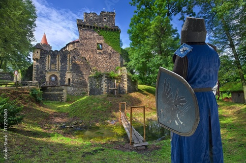 Medieval knight by Gothic-Renaissance style Grodziec castle in Lower Silesia, Poland