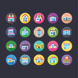 Buildings Flat Colored Icons Set 9  - 172124462