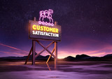 customer satisfaction neon road sign glowing at night. Mixed media illustration - 172129250