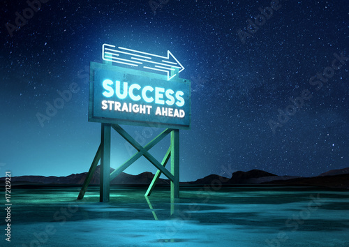 A neon glowing road sign of success. Conceptual background, mixed media illustration.