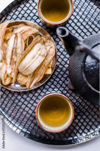 Chinese Tea set with crispy fried banana Poster