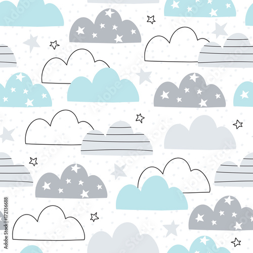 Fototapeta seamless clouds pattern vector illustration