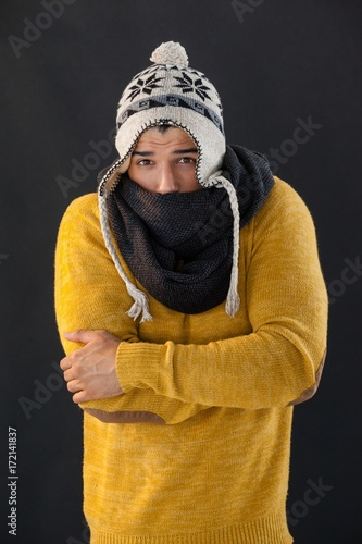 Portrait of man feeling cold