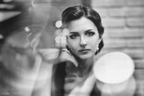 beautiful woman in retro style indoors - 172154259