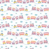 Seamless Pattern  Cute Toy Trains Wall Sticker