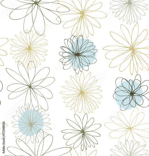 Pale colored decorative ornate background with round fantasy flowers © silmen
