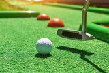 Golf ball and Golf Club on Artificial Grass - 172173005