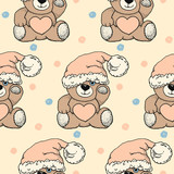 seamless vector cute pattern with hand drawn toy bears in a hat. design for children, covers, packaging, presents