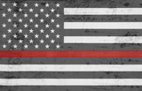 Weathered United States of America thin red line flag - 172177442