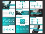 Blue presentation infographic elements template set, annual report corporate horizontal brochure design template - 172182892