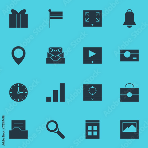 Foto op Plexiglas Turkoois Vector Illustration Of 16 Internet Icons. Editable Pack Of Capture, Landscape Photo, Increase Chart Elements.