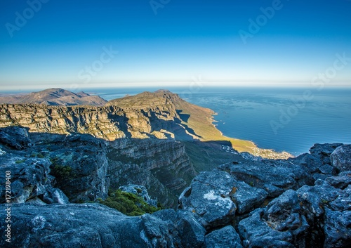 Foto op Canvas Nachtblauw Landscape on top of the table mountain nature reserve in Cape Town at South Africa