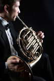 French horn player. Classical musician playing horn - 172199062