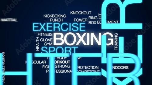 Boxing animated word cloud, text design animation.