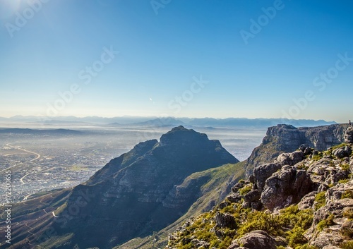 Foto op Aluminium Blauw Landscape on top of the table mountain nature reserve in Cape Town at South Africa