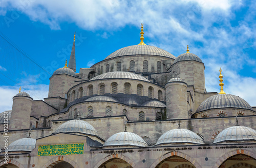 panorama of the majestic Blue Mosque in the city of Istanbul Poster