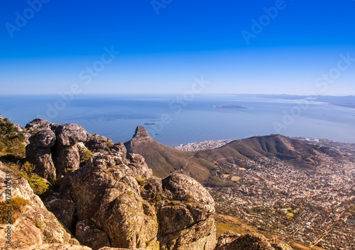 Foto op Canvas Cappuccino Landscape on top of the table mountain nature reserve in Cape Town at South Africa