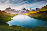 Panorama of Mt. Schreckhorn and Wetterhorn above Bachalpsee lake. Location place Swiss alps, Bernese Oberland, Grindelwald, Europe.