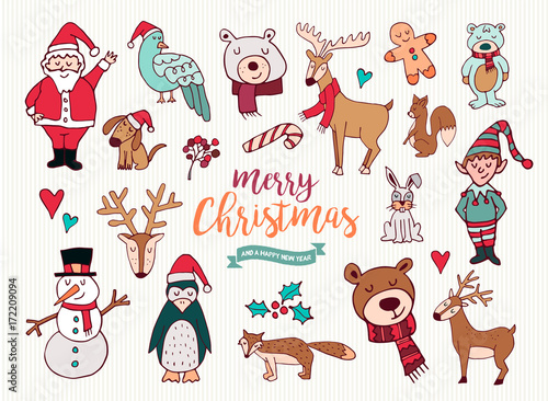 Christmas new year cute doodle cartoon collection - 172209094