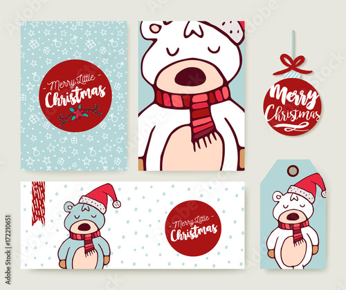 Christmas card set holiday bear cartoon template