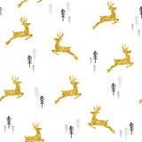 Christmas gold glitter deer xmas seamless pattern