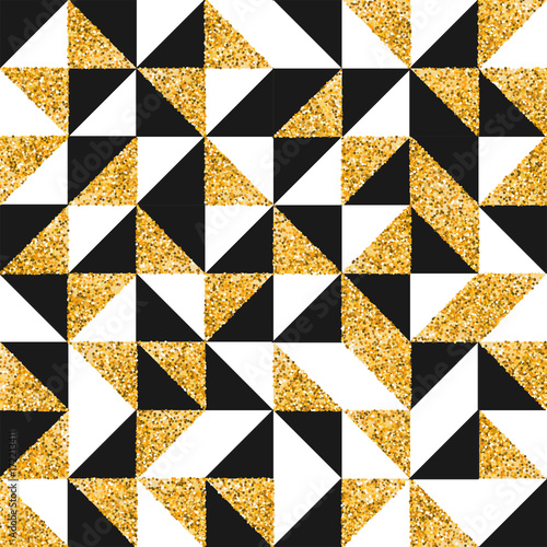 Gold  glitter abstract retro art seamless pattern - 172213411