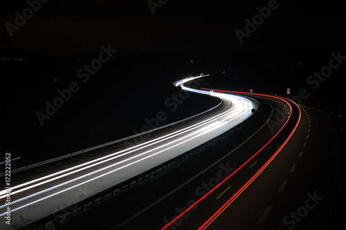 Poster Nacht snelweg light trails