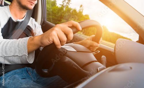 Poster Man Driving his Car