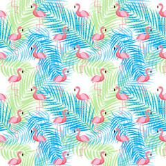 Cute Retro Seamless Flamingo Pattern Background Vector Illustration