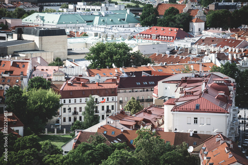 Poster Vilnius old town cityscape panorama, Lithuania