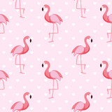 Cute Retro Seamless Flamingo Pattern Background Vector Illustration - 172230848
