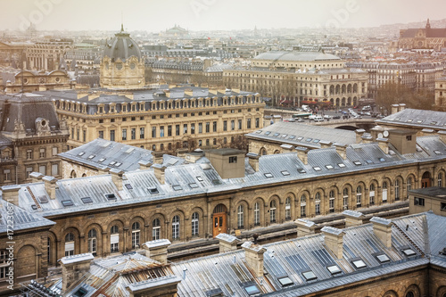 Poster Spectacular image of Paris roofs from Cathedral Notre-Dame de Paris