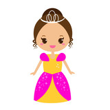 Cute kawaii fairy tale princess in long dress and crown. Girl in queen costume. Cartoon style vector illustration