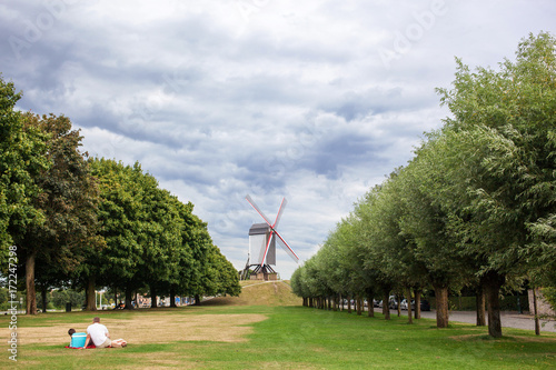 Foto op Aluminium Brugge Sint Janshuismolen wind mill